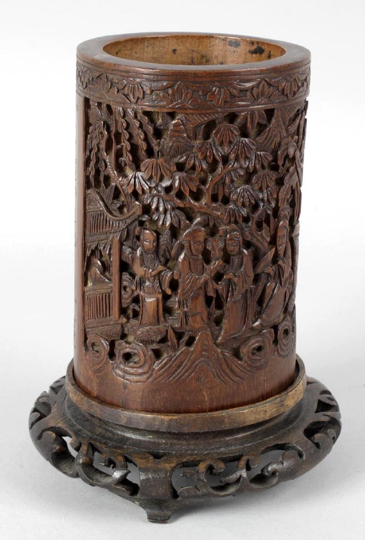 A 19th century Chinese bamboo bitong or brush pot, with