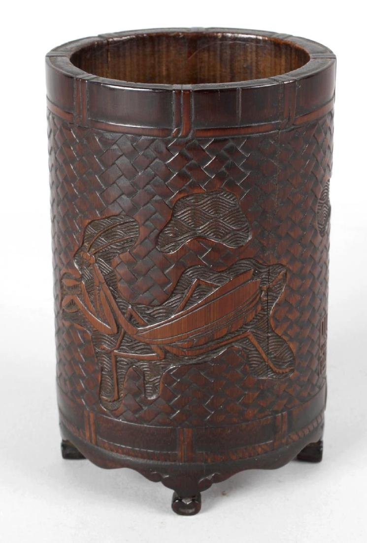 An early 19th century Chinese carved bamboo bitong or