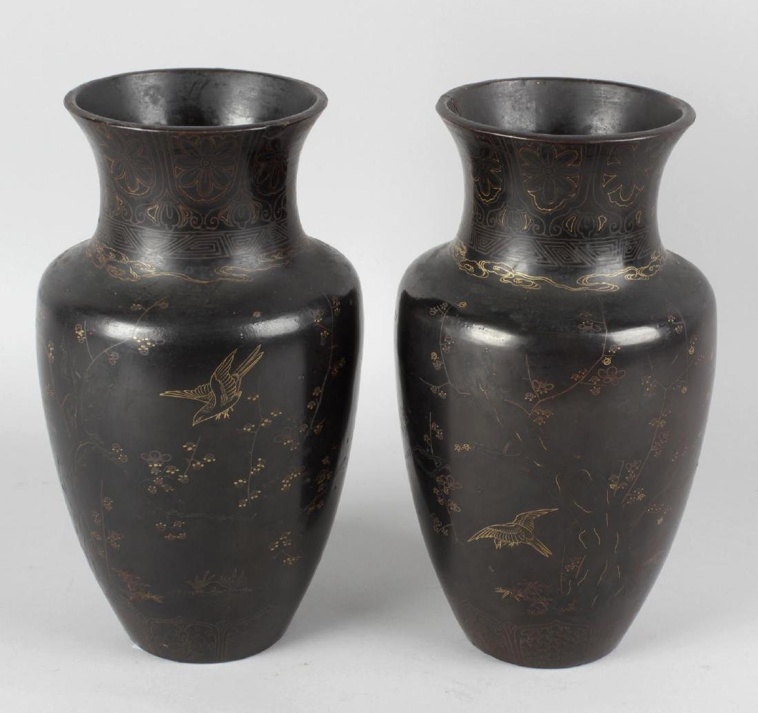 A pair of 19th century Japanese lacquered bronze vases,