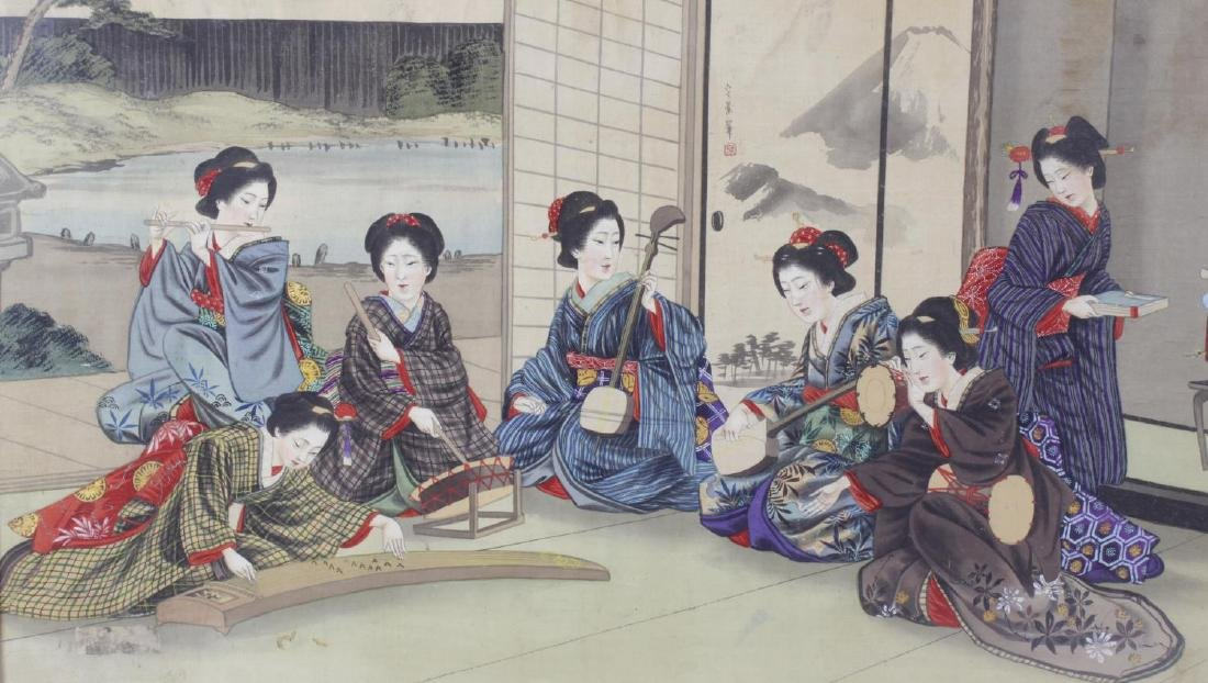 A 19th century Japanese painted silk panel, depicting a