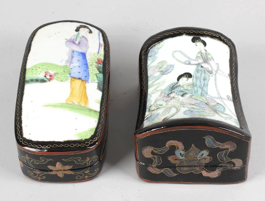 Two modern Chinese lacquered boxes, the covers inset