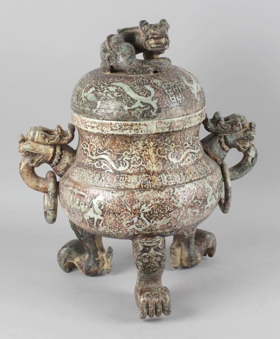 A large Chinese carved soapstone incense burner. Of