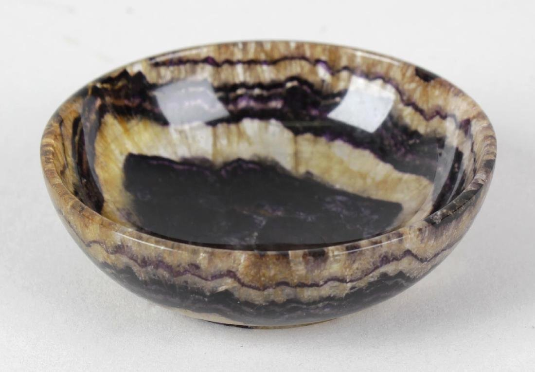 A small Blue John shallow bowl or dish. Old Tor vein,