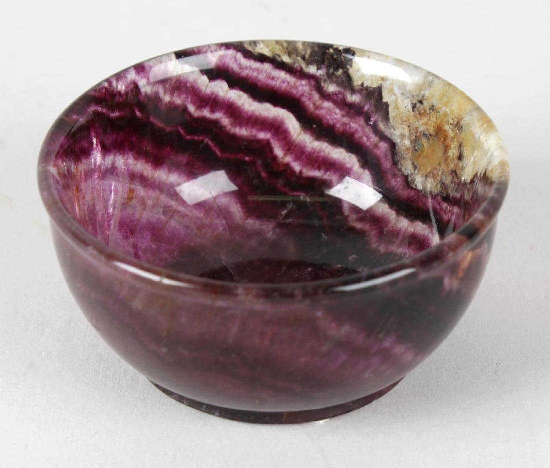 A Blue John bowl. Roman or Twelve vein, of