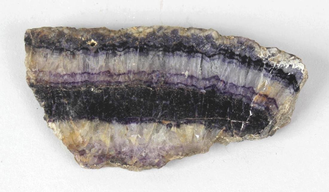 A Blue John specimen slice. Old Tor vein, lightly