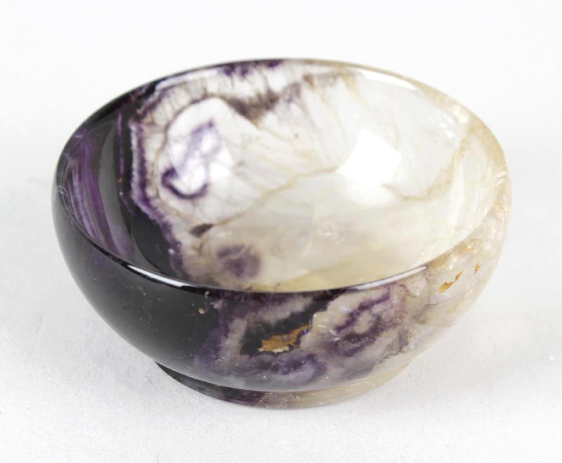 An unusual small Blue John bowl. Of hemispherical form,