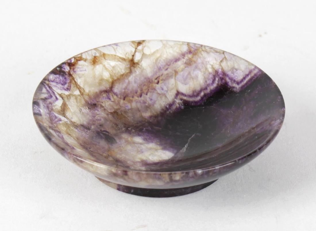 A Blue John shallow dish. Treak Cliff Blue vein, of