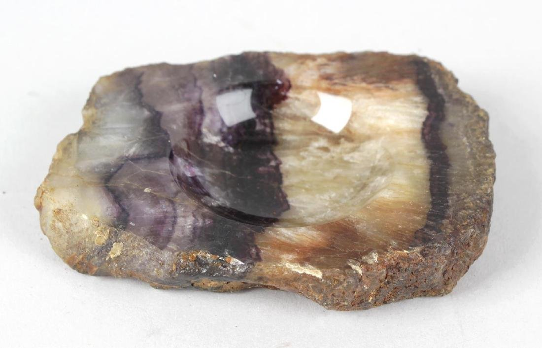 A Blue John ashtray or pin trayOrgan Room vein, of