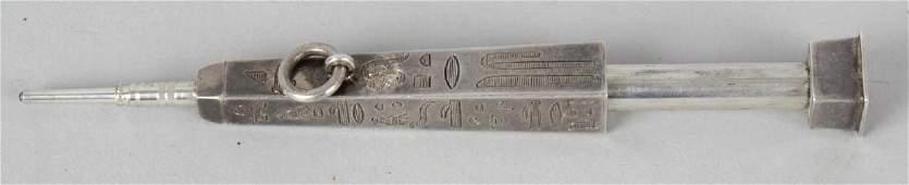 A Sampson Mordan  Co Egyptian revival white metal