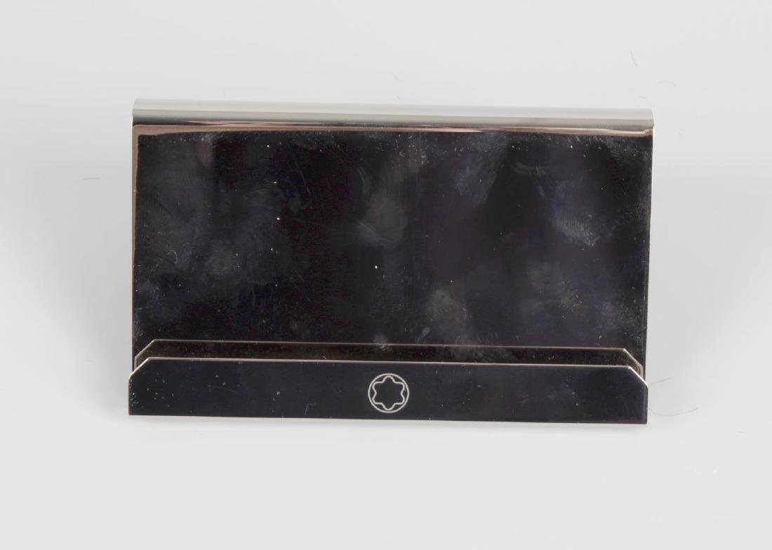 A Montblanc desk top metal business card holder, with