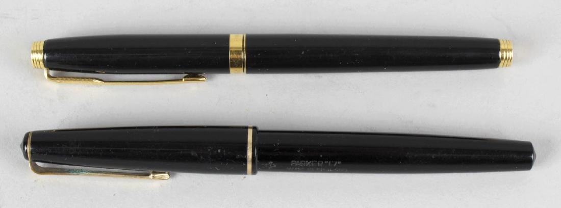 A Parker 17 blue bodied fountain pen, a similar 17