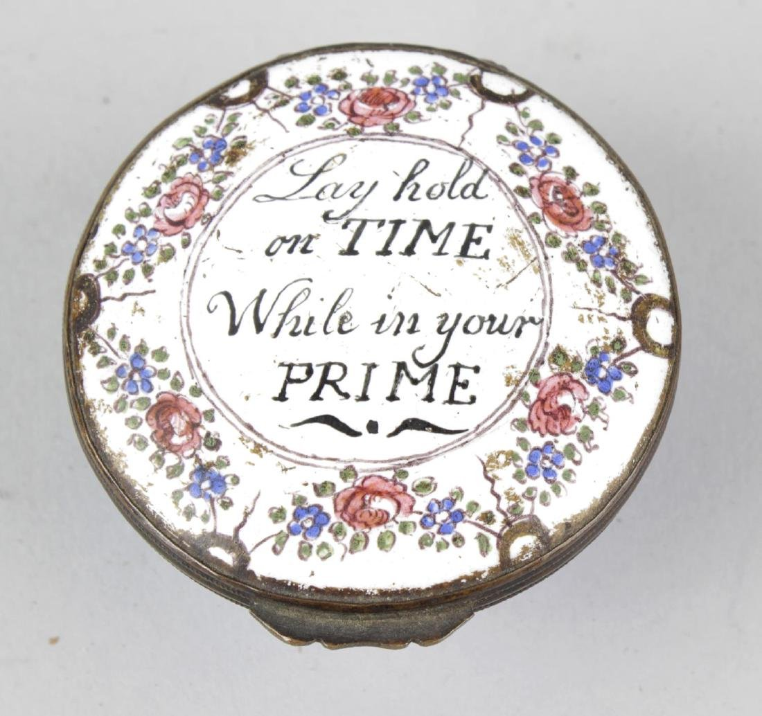 A 19th century enamel pill box, of circular form, the
