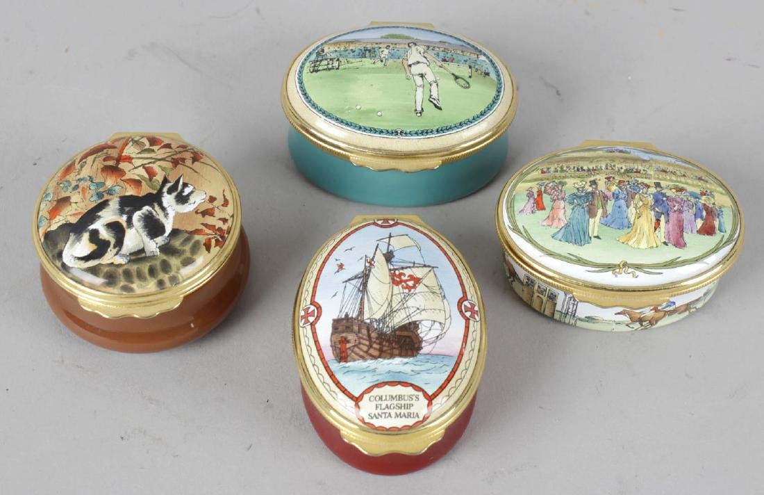 A group of seven Halcyon Days enamel boxes. Comprising: