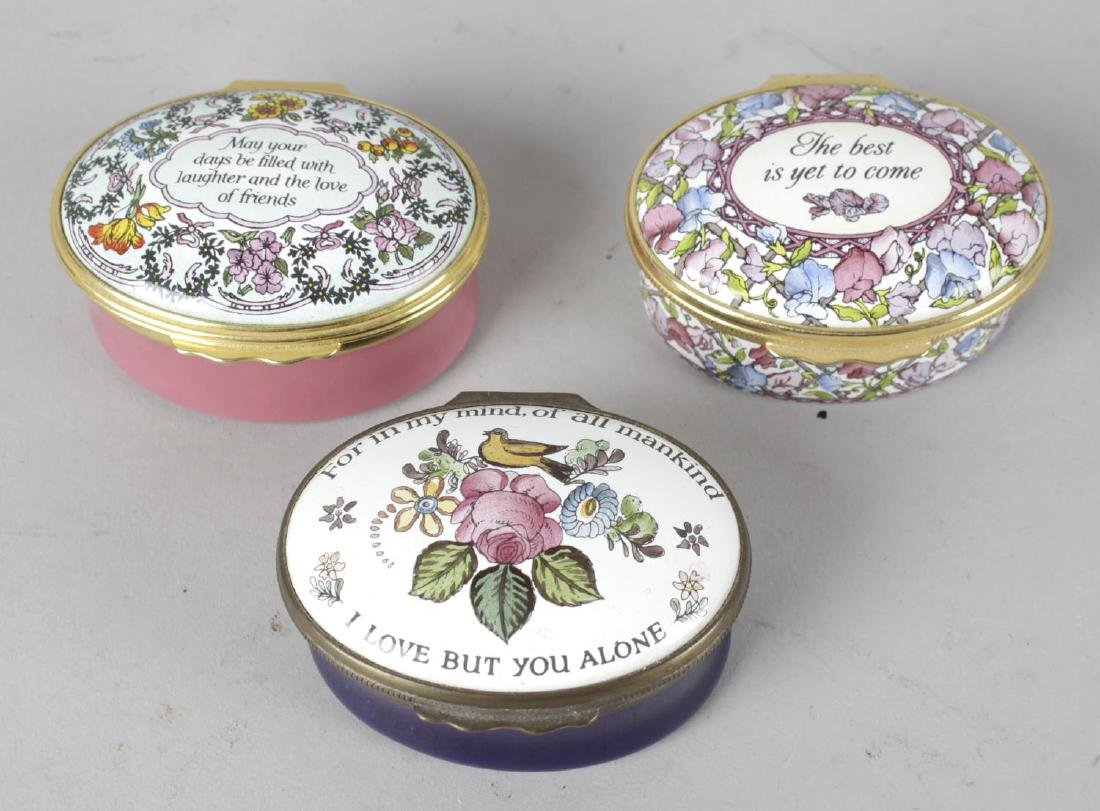 A group of nine Halcyon Days enamel boxes. Comprising