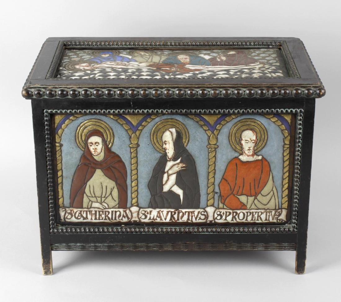 A small oak ecclesiastical casket, the hinged opening