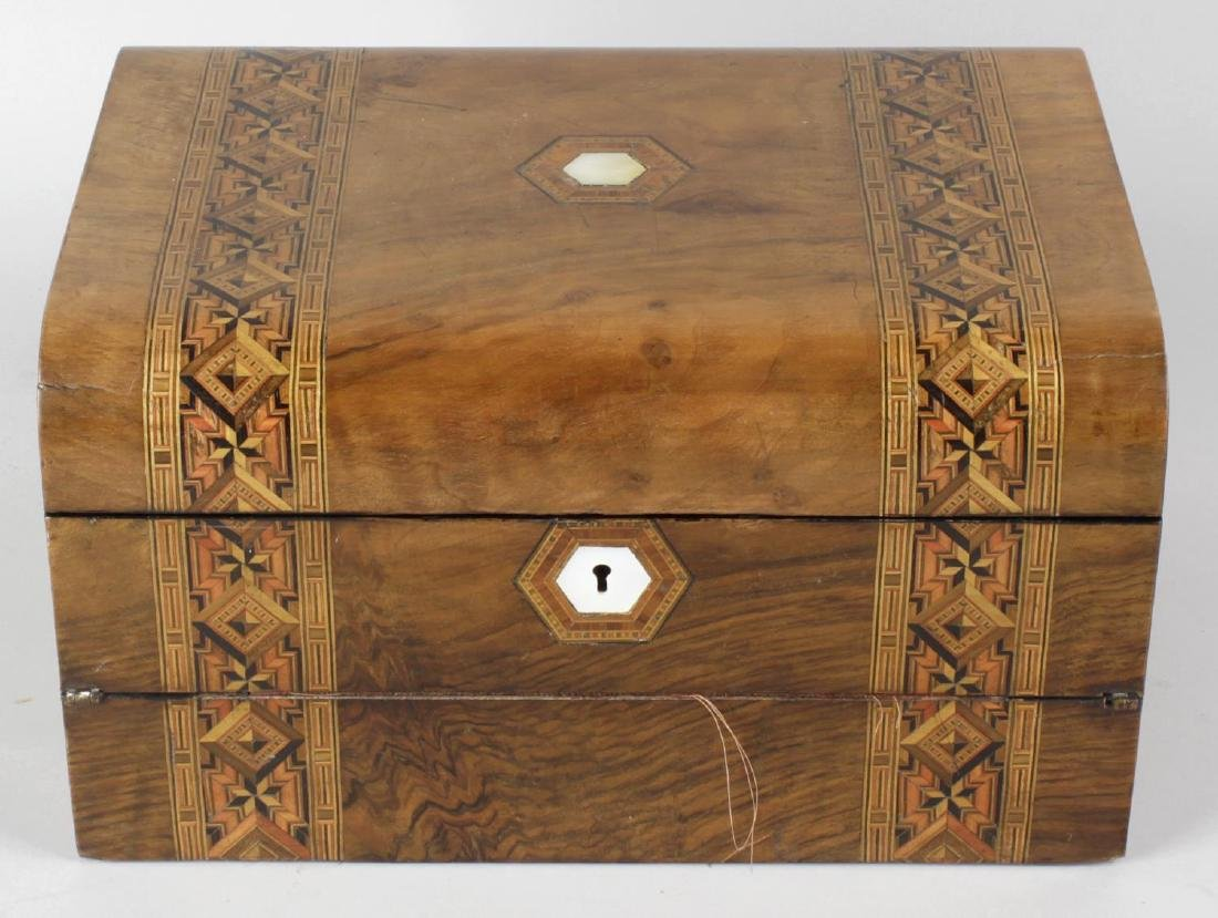 Three Victorian inlaid walnut boxes. Two with rounded