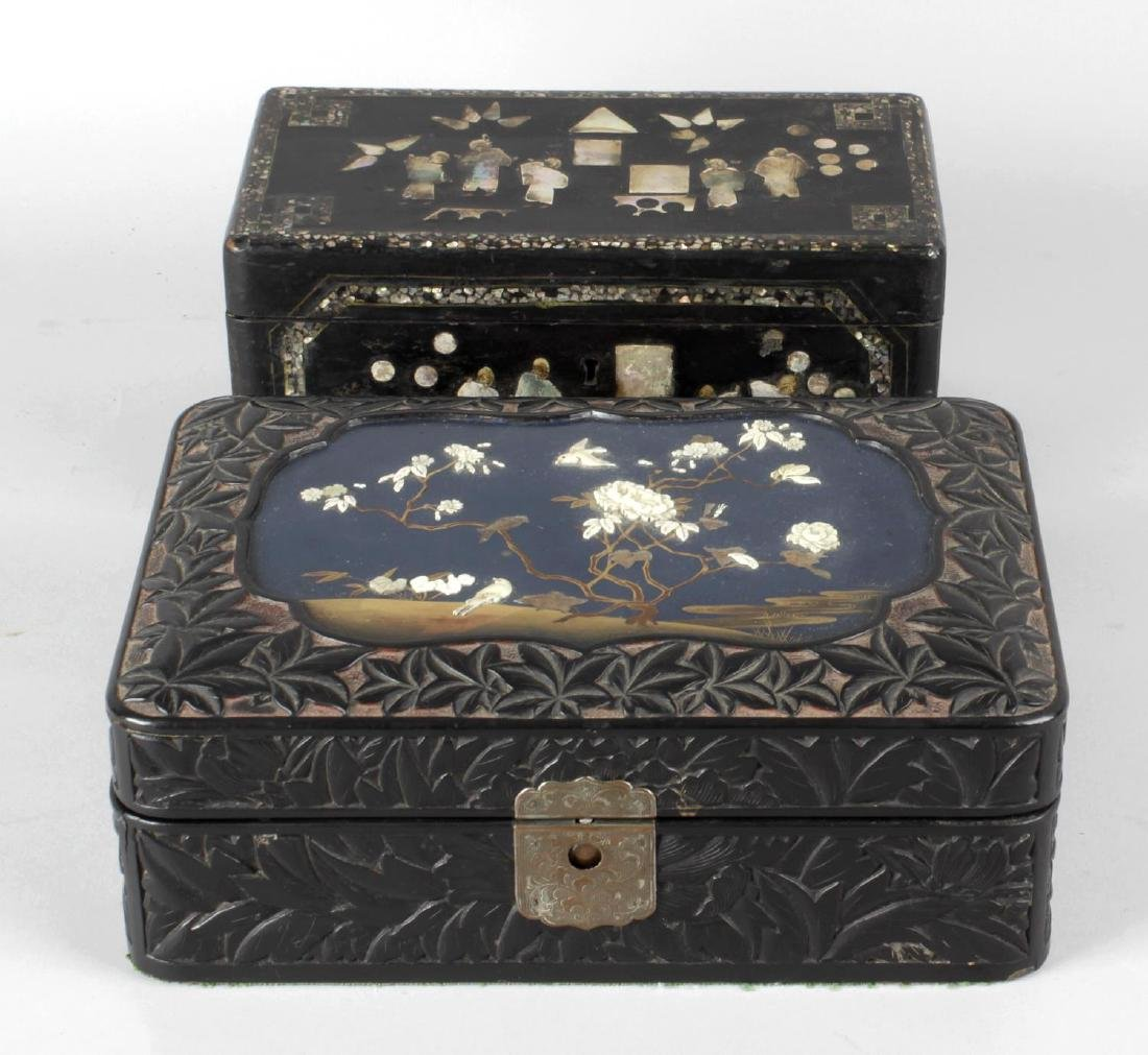 A Japanese shibayama-decorated lacquer box. Meiji