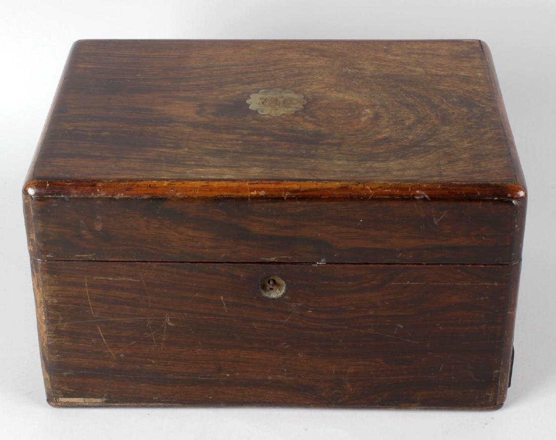 Five assorted 19th century rosewood jewellery boxes.