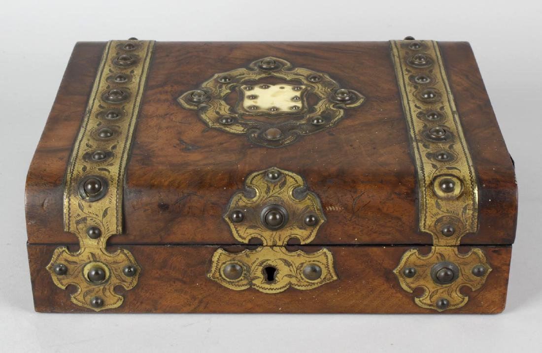 Three 19th century boxes. Two with studded brass