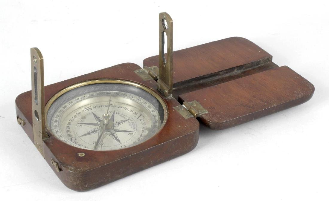 A 19th century mahogany cased surveyors compass, the