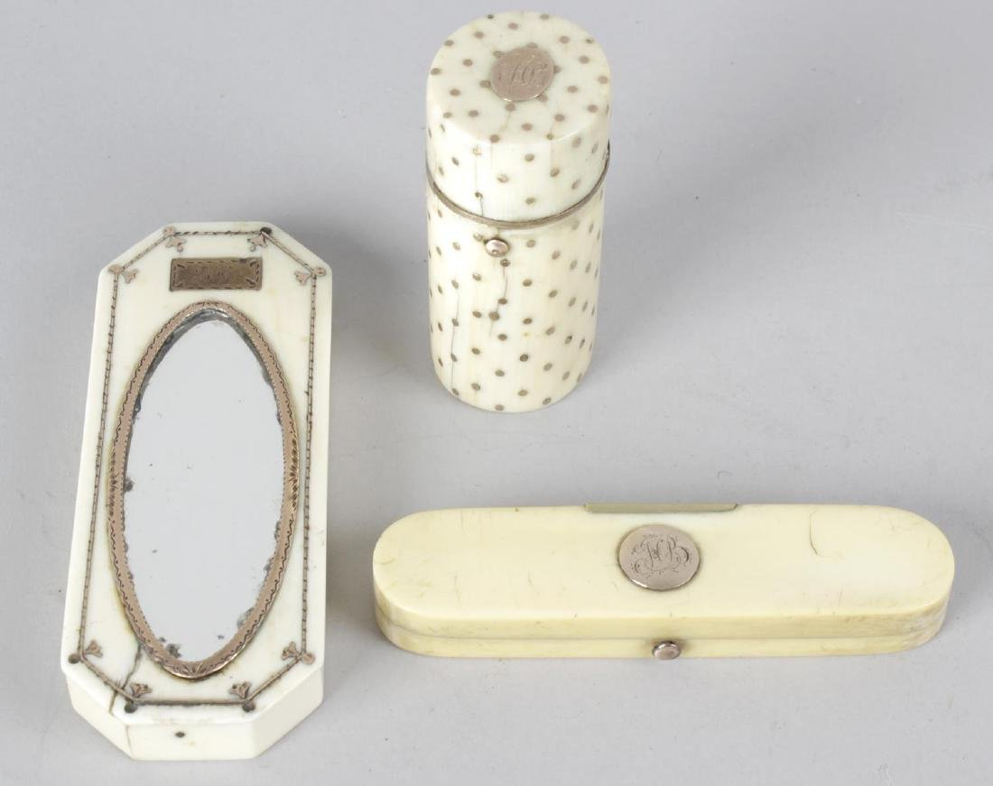 A 19th century ivory needle case, the hinged opening