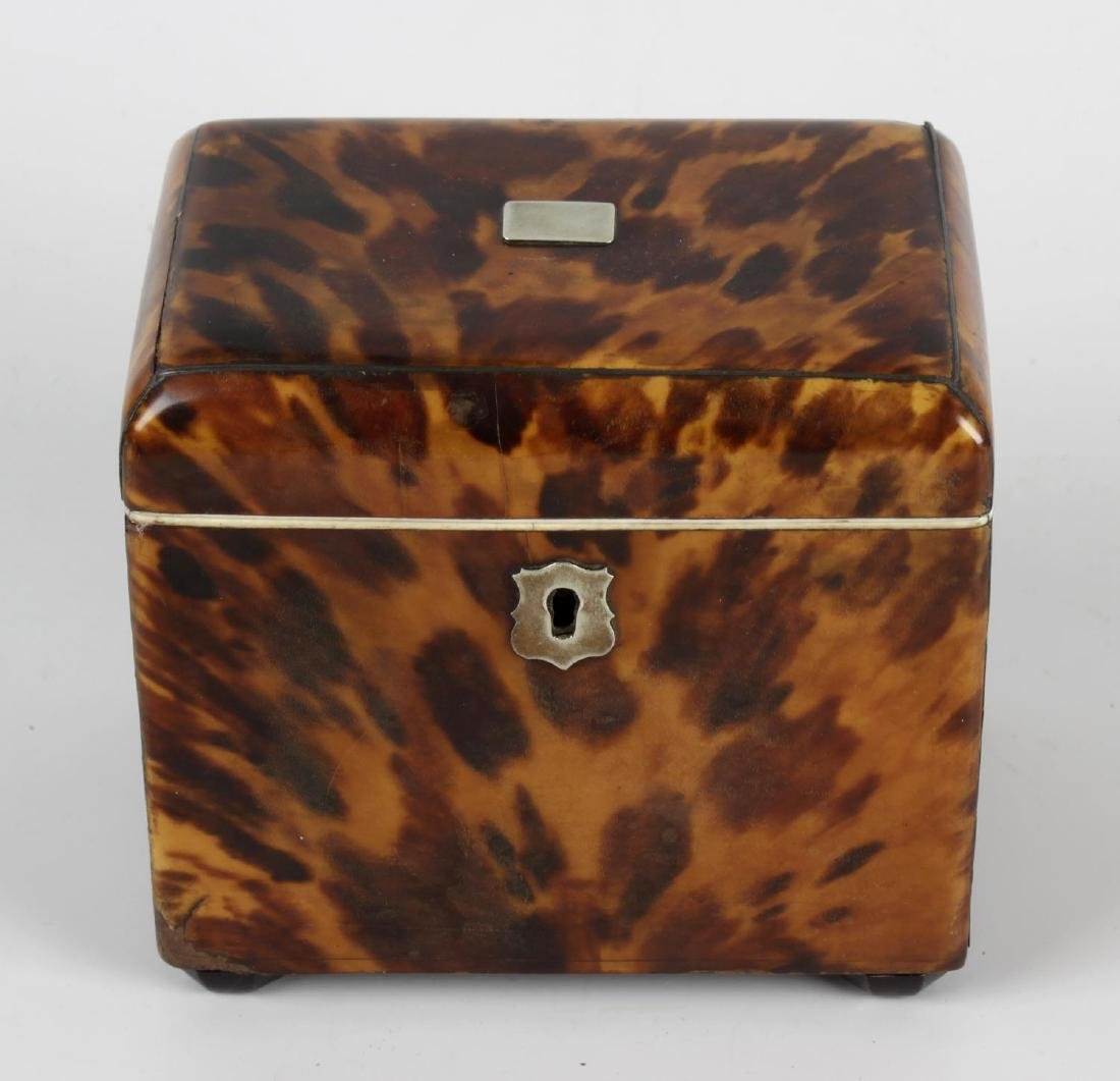 An early 19th century blonde tortoiseshell tea caddy of