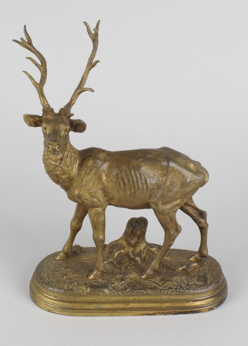 A 19th century bronze animalier study of a stag,