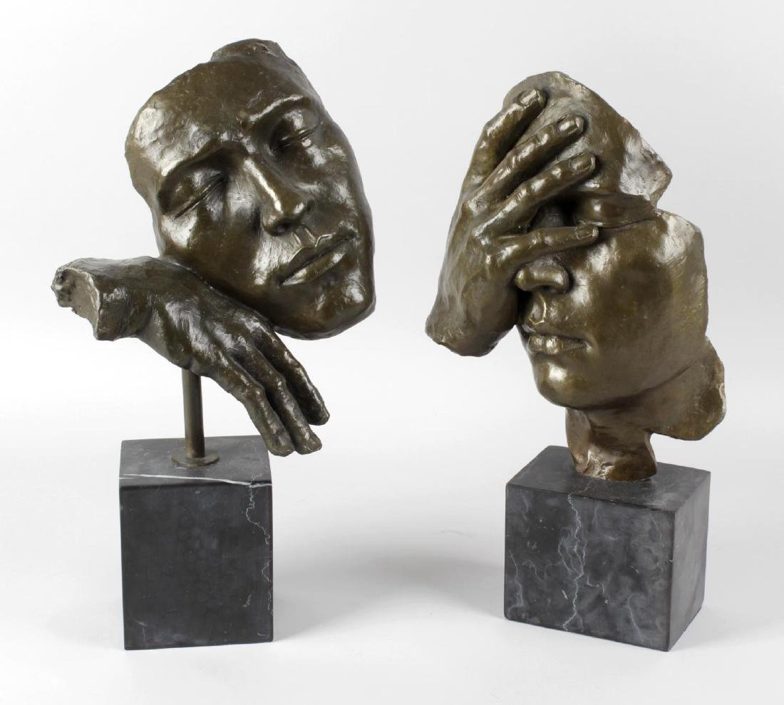 Two contemporary bronze studies, each depicting a human