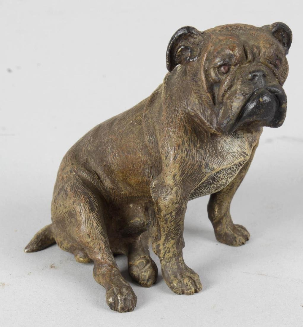 A cold painted bronze study of a seated Bulldog, 2.75
