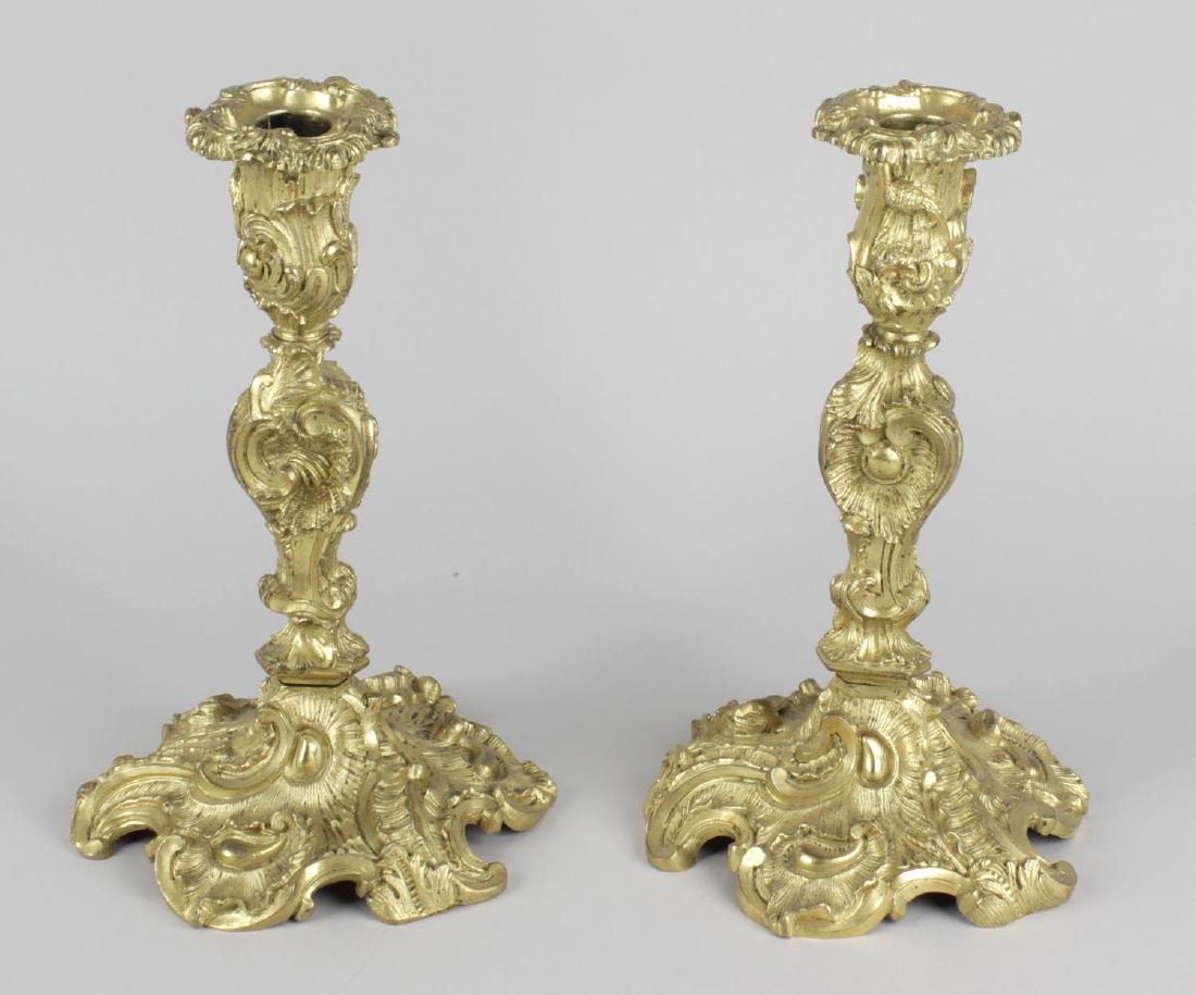 A pair of 19th century gilt bronze candlesticks, the