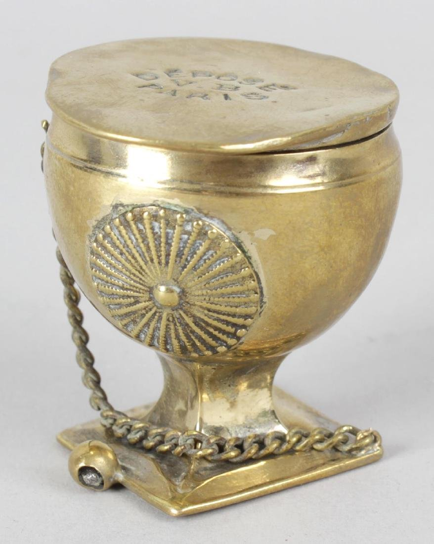 A Victorian brass novelty dressing case, modelled as a