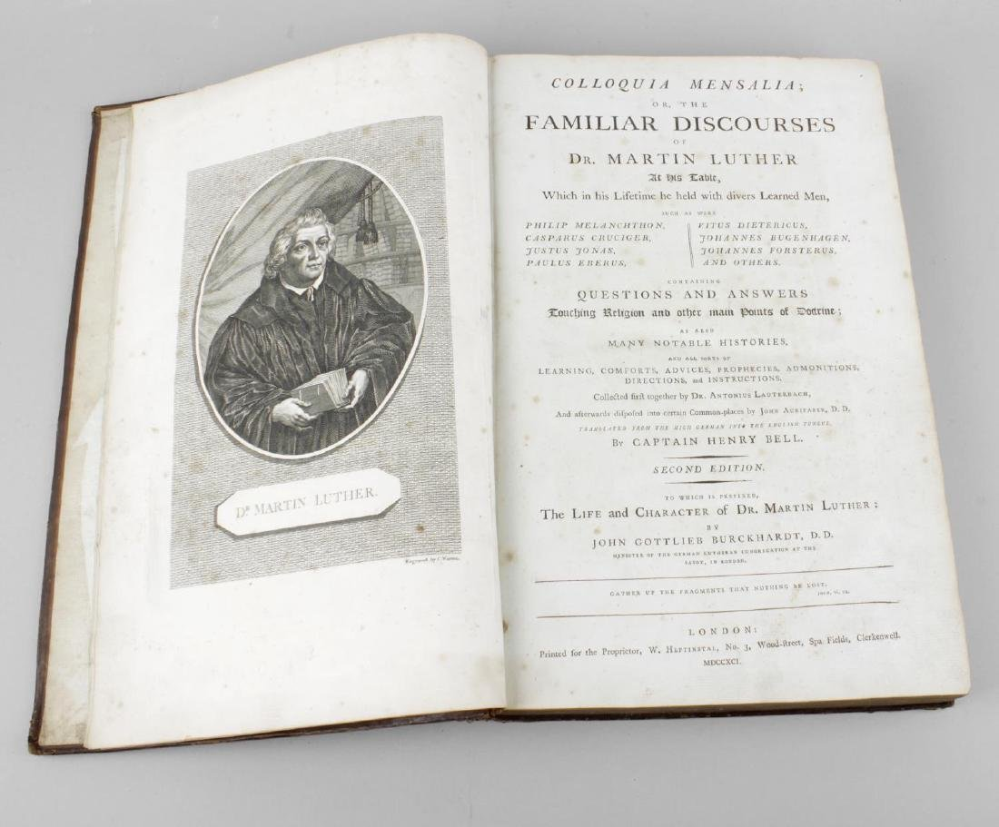 An 1840 leather bound volume 'Luther's Discourse'