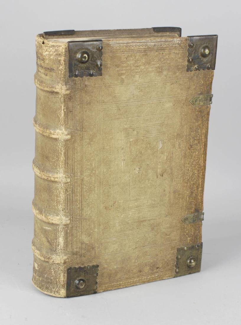 A 17th century brass-bound vellum book. At fault, the