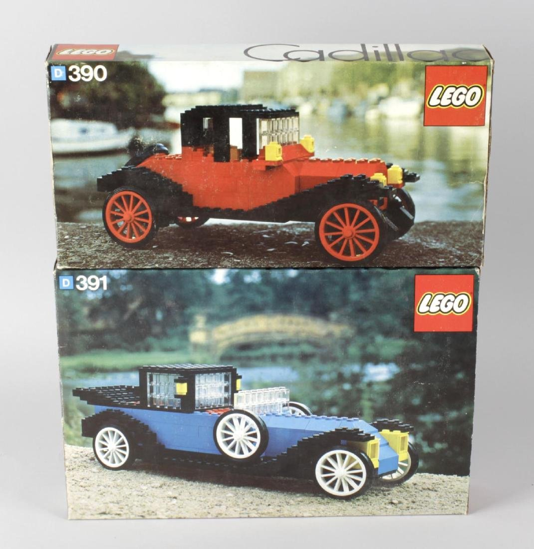 Nine 1970's Lego constructional toy model kits,