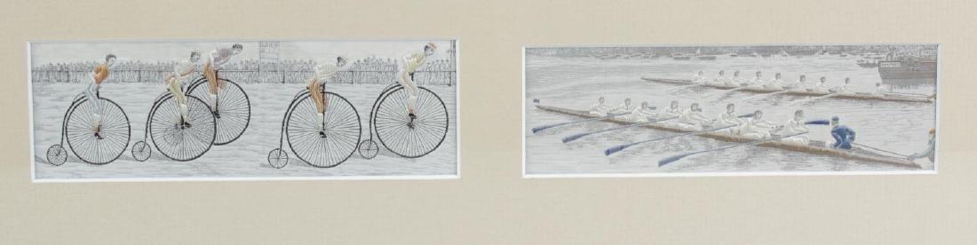 Two Victorian silk Stevengraphs. 'The Last Lap',