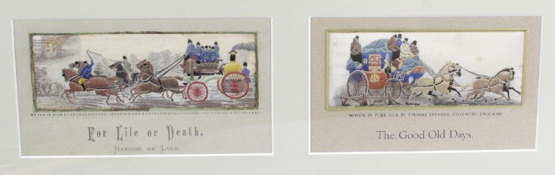 Five Victorian silk Stevengraphs. Comprising two