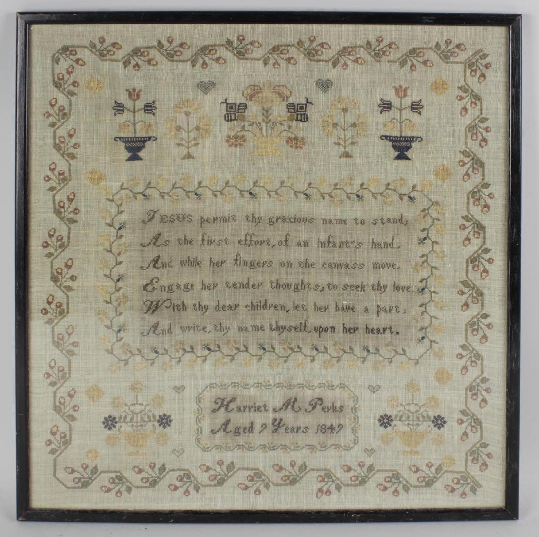 A mid 19th century needlework sampler, worked by