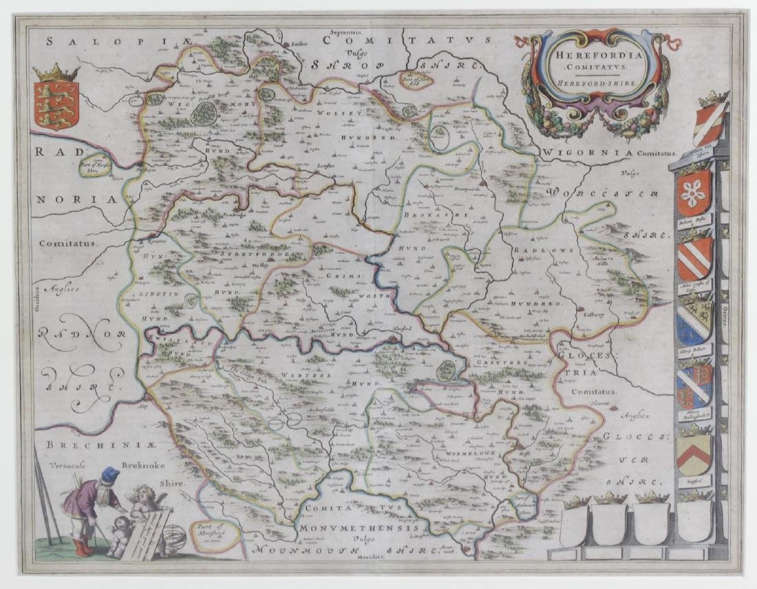 A mid 17th century Johannes Blaeu engraved county map