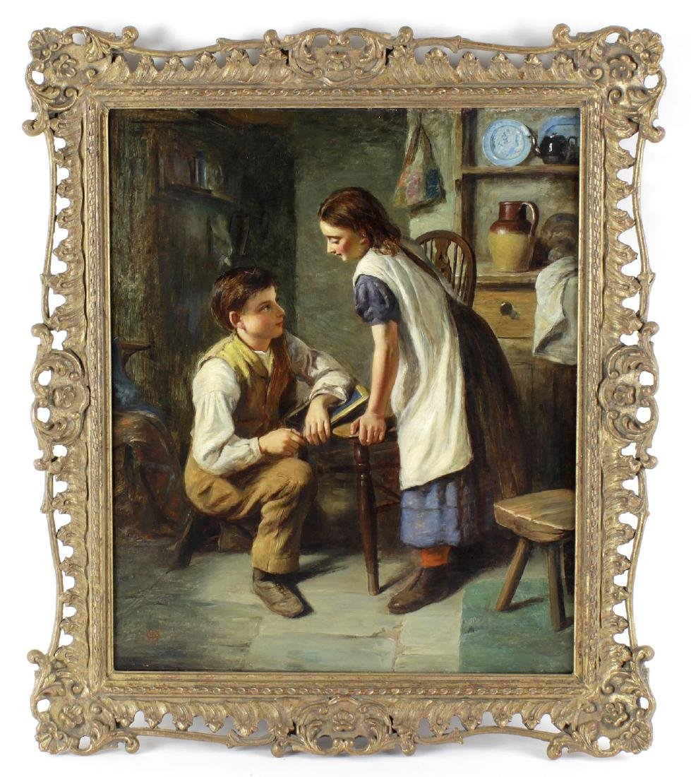 Joseph Clark, (1834-1926), The Proposal, a young man on