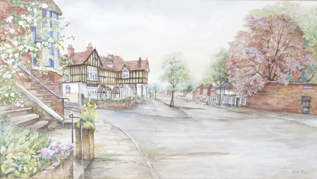 Glenda Rae, watercolour, West Street Warwick, signed