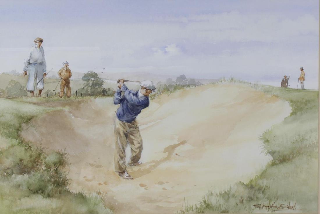 Douglas West, (b. 1931), A golfing watercolour