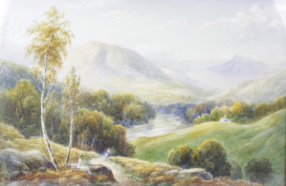 R E Hague (20th century), watercolour, extensive river