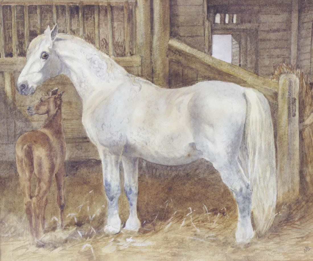 19th Century English School, watercolour, stable
