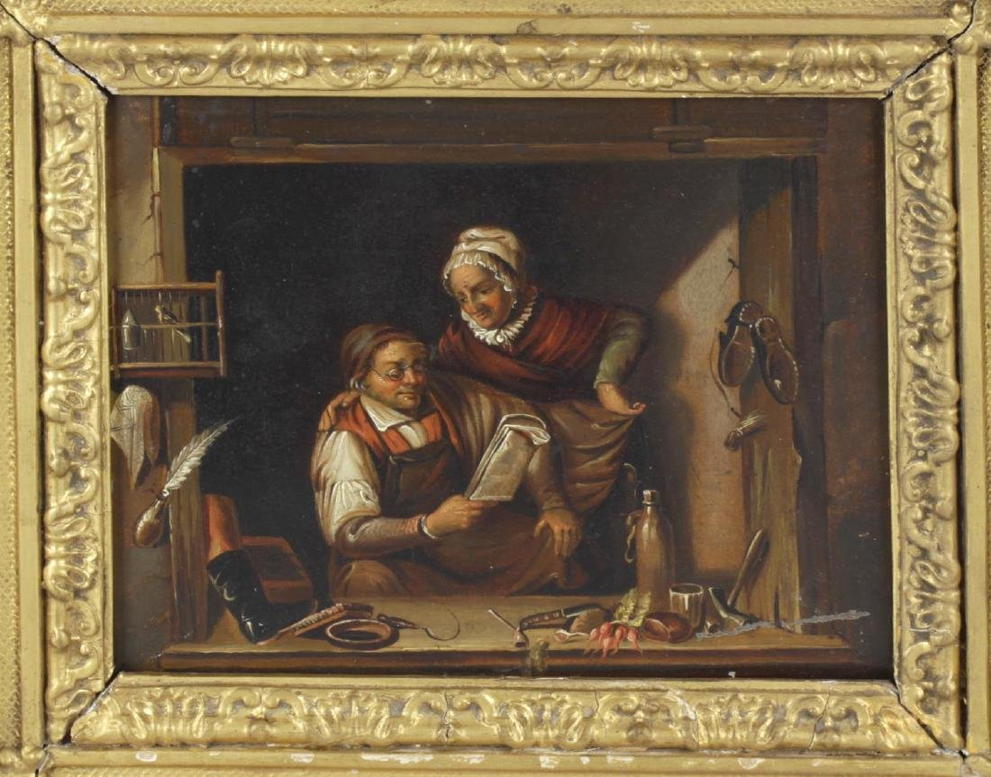 19th century Dutch School, oil on metal panel, interior