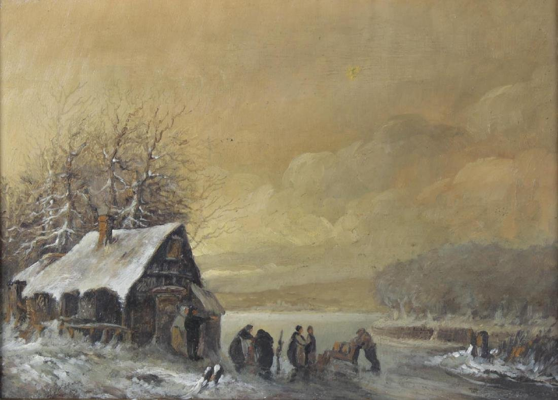 19th Century English School, oil on canvas, winter