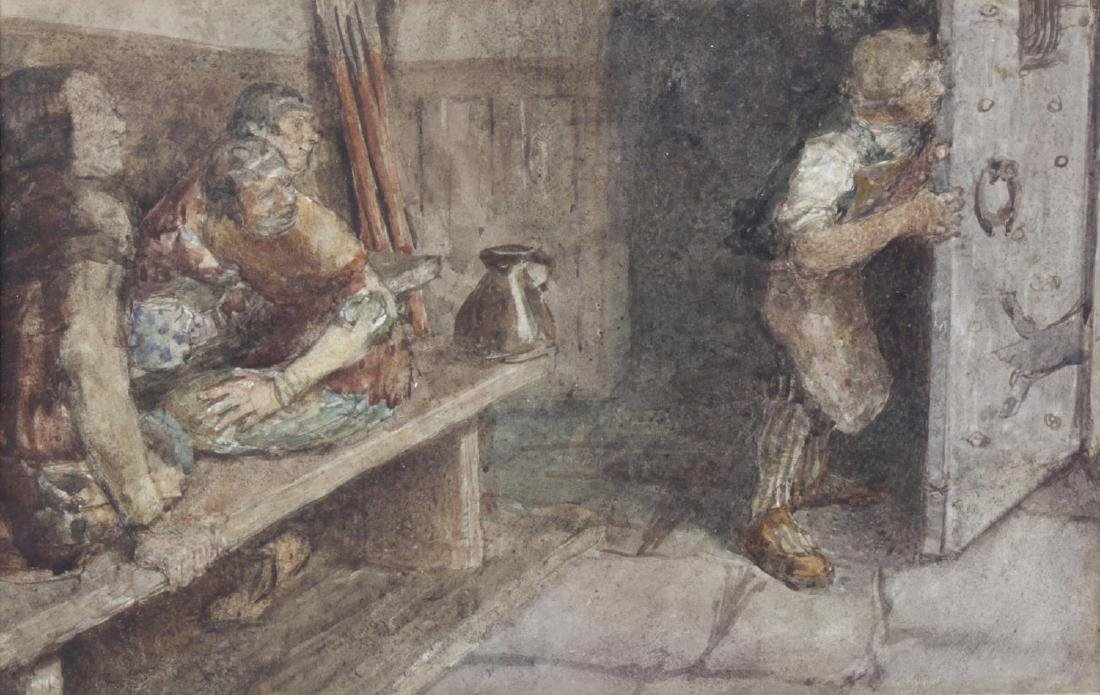 19th century English School, watercolour, tavern