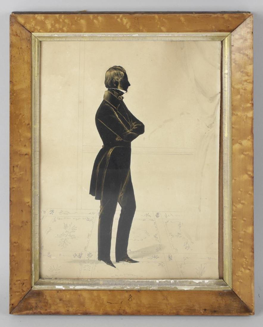 A 19th century silhouette, full length study of an
