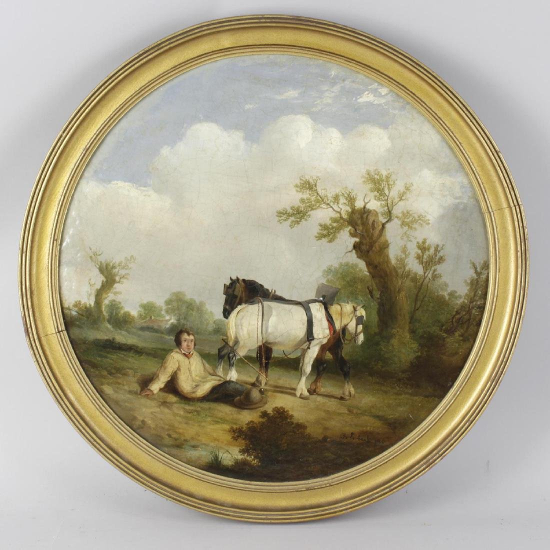 F Ewbank (19th century), a circular oil painting on