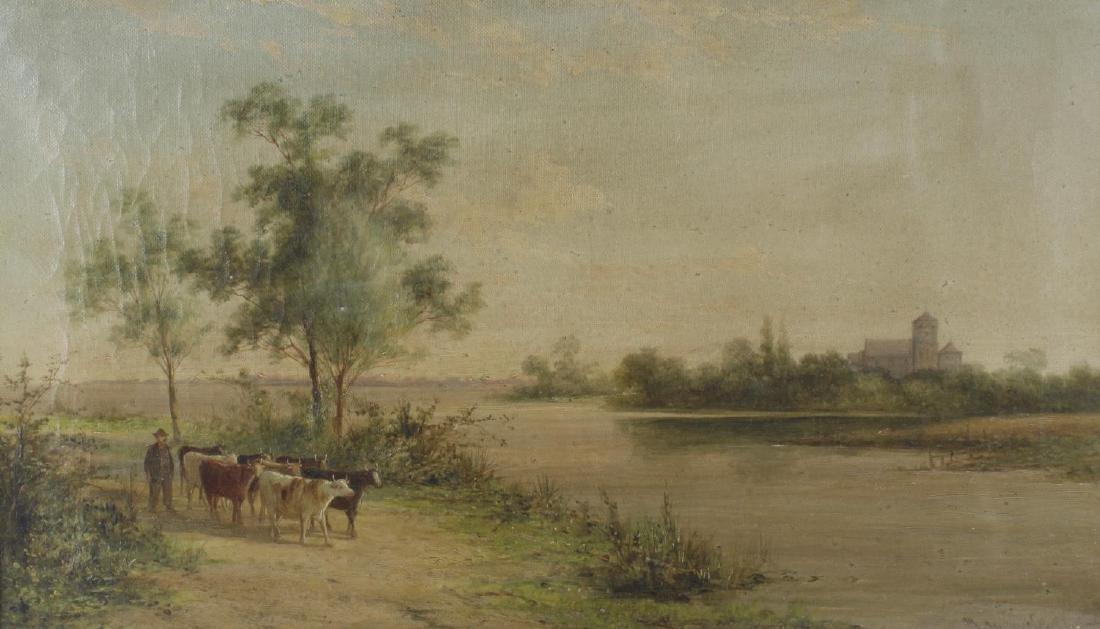 J Marshall (19th century), oil on canvas, farmer