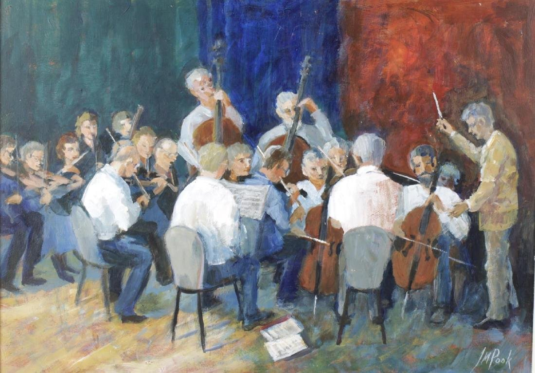 J M Pook (modern), oil on board, 'The orchestra's